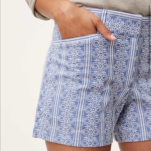"""Embroidered Stripe Riviera Shorts With 4 """" Inseam"""